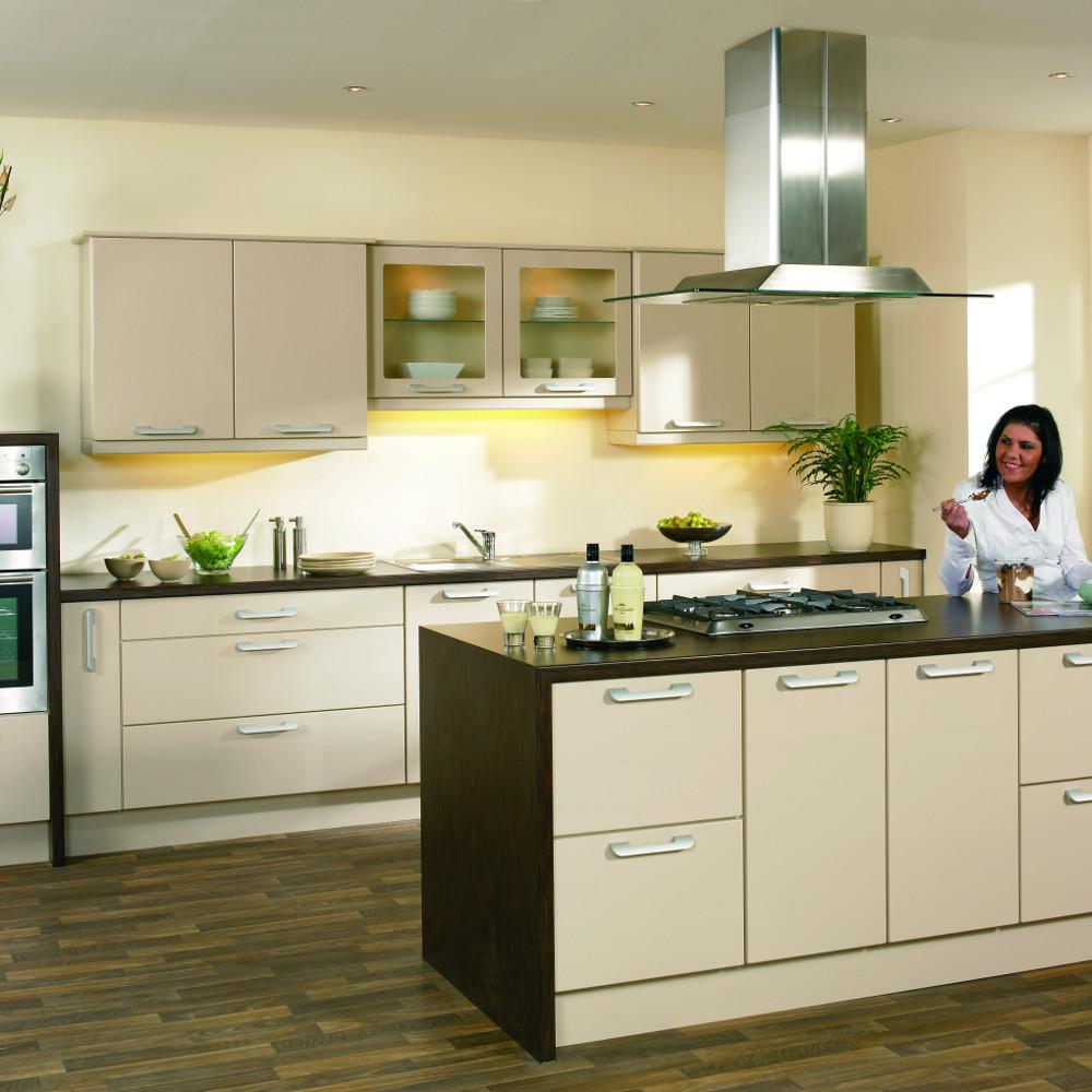 captivating beige gloss kitchen | Duleek Gloss Beige – Kitchens Direct NI