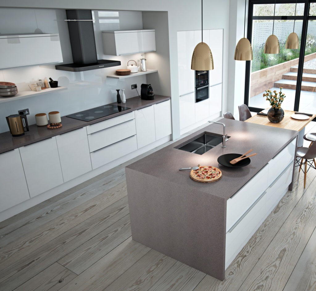 White Gloss Kitchen Grey Worktop: Phoenix White Gloss