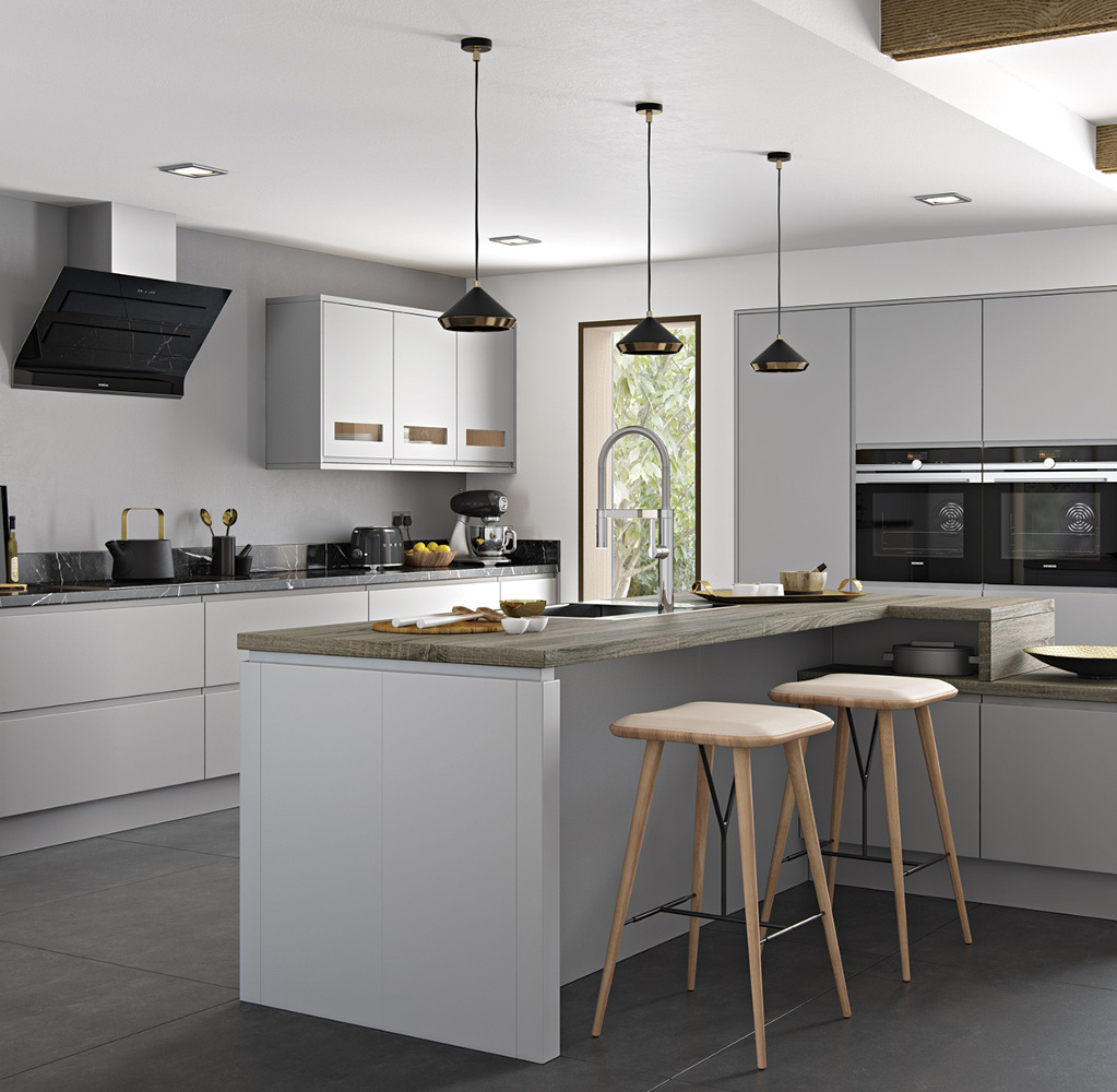 Strada Matte Light Grey Kitchens Direct NI - Matte grey kitchen
